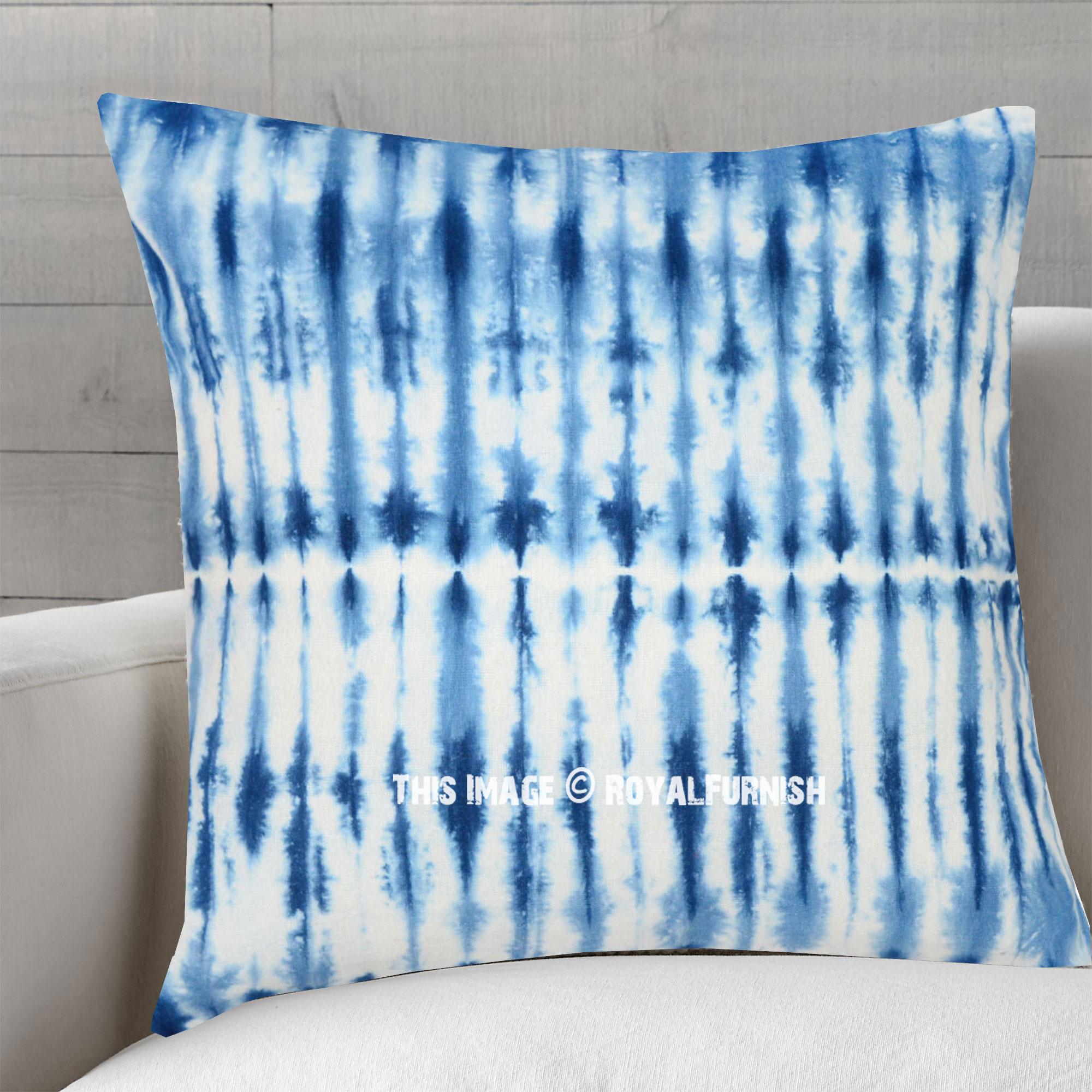 77660bbe1aa72 White & Blue Shibori Art Tie Dye Indigo Pillow Case 16X16 Inch