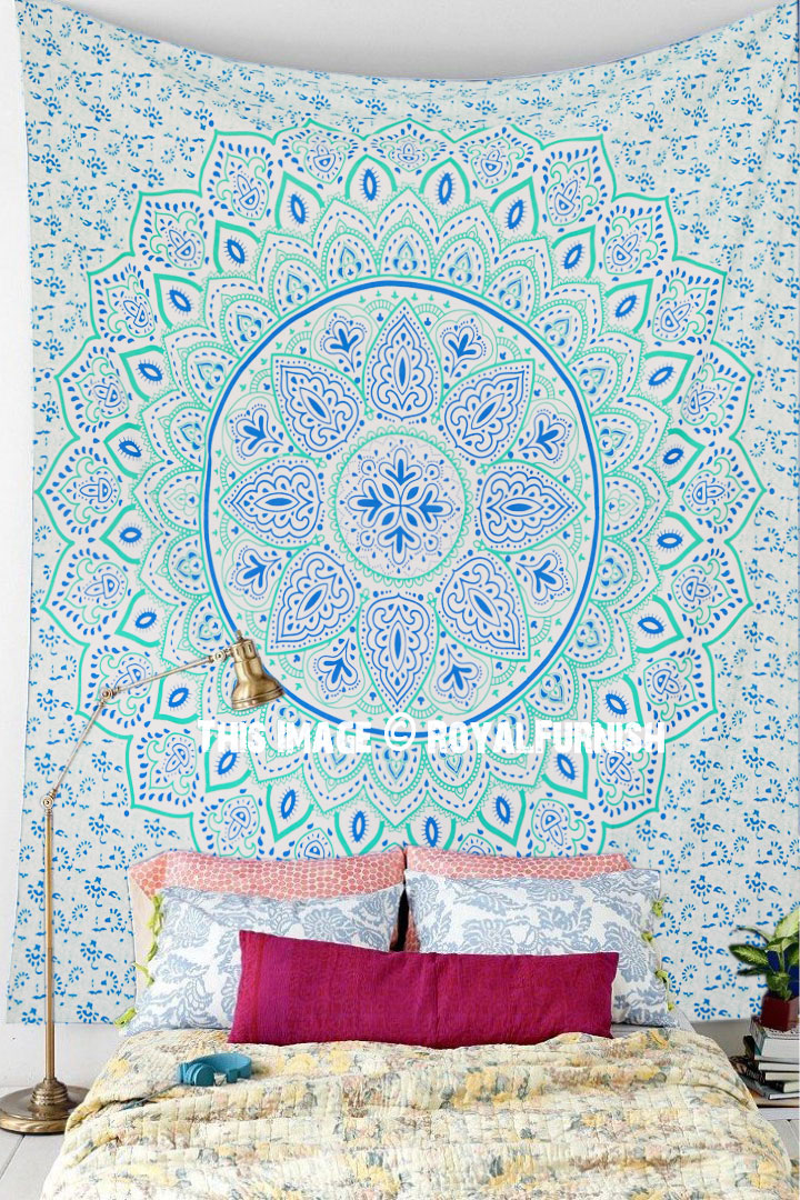 Sea Green Dahlia Hippie Mandala Tapestry Wall Hanging
