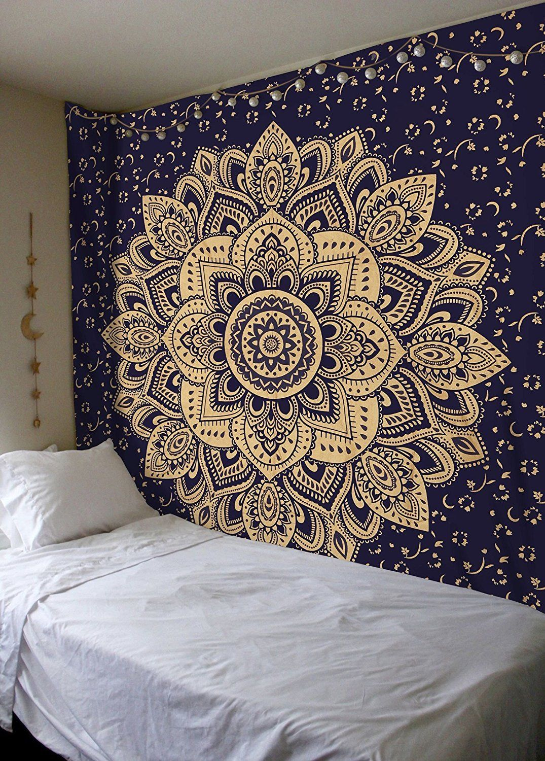 Bedroom Stencils Blue Amp Gold Passion Ombre Boho Mandala Tapestry Wall