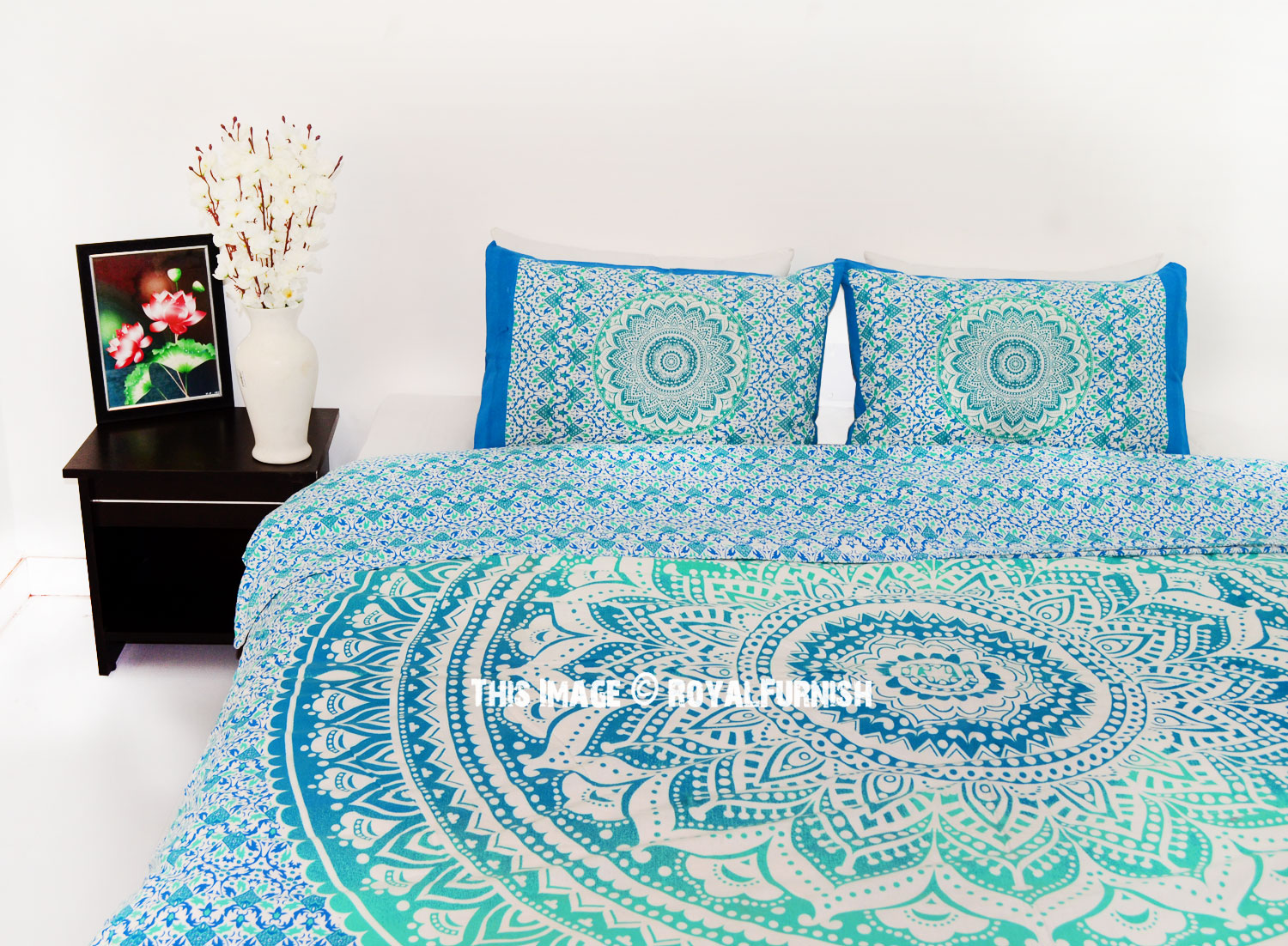 Sea Green King Bohemian Bedding Ombre Mandala Duvet Cover