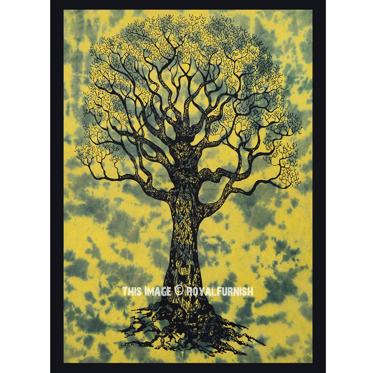 Green Multi Tie Dye Desert Dry Tree Cotton Fabric Poster Wall Art ...