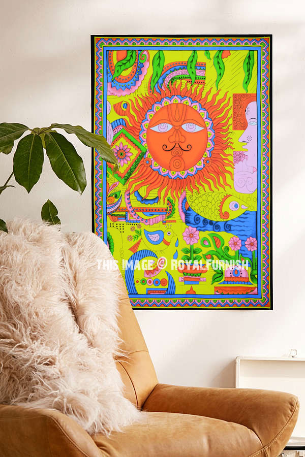 Wall Hanging Cotton Fabric Small Tapestry Poster Indian Art Hippie Multi Color