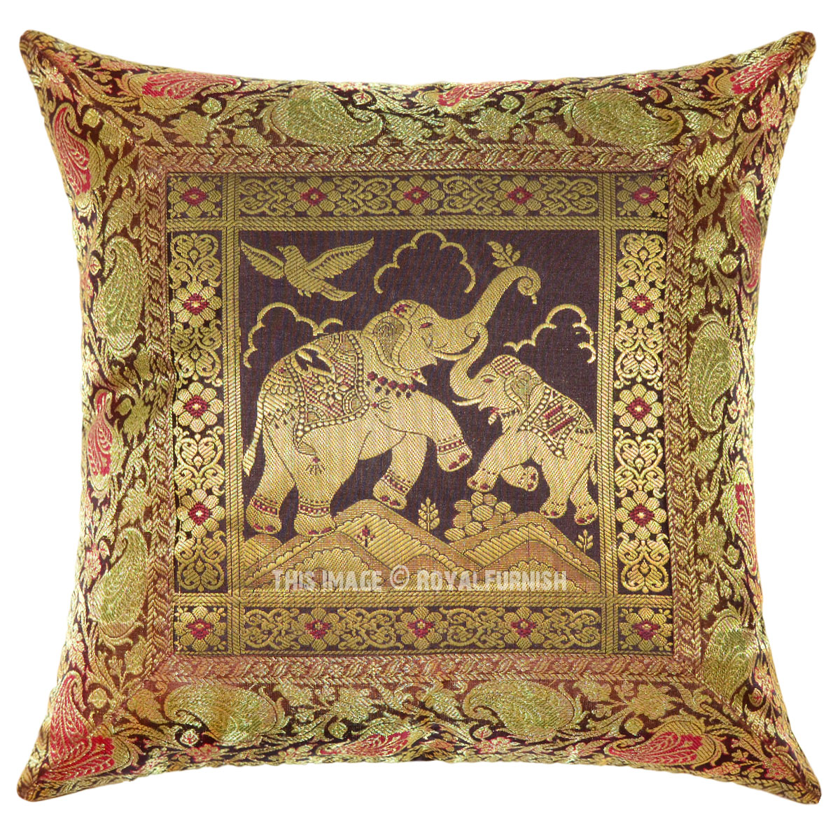 Decorative Pillow Brown : Brown Decorative Elephant Family Silk Throw Pillow Case - RoyalFurnish.com