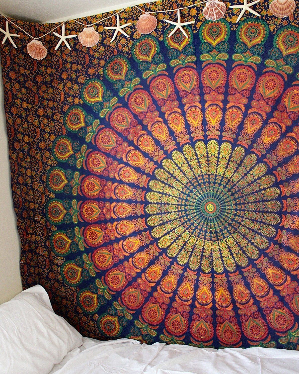 Blue & Yellow Hippie Medallion Mandala Boho Tapestry Wall ...