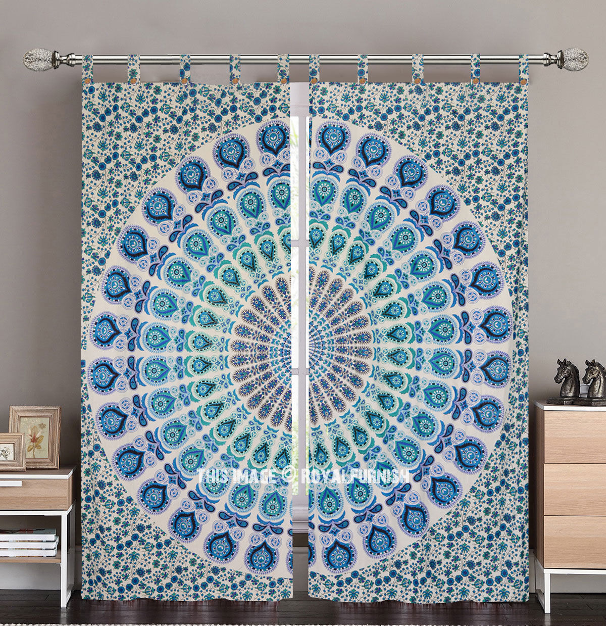 White And Blue Nerita Medallion Circle Tapestry Curtain Panel Pair Royalfurnish Com