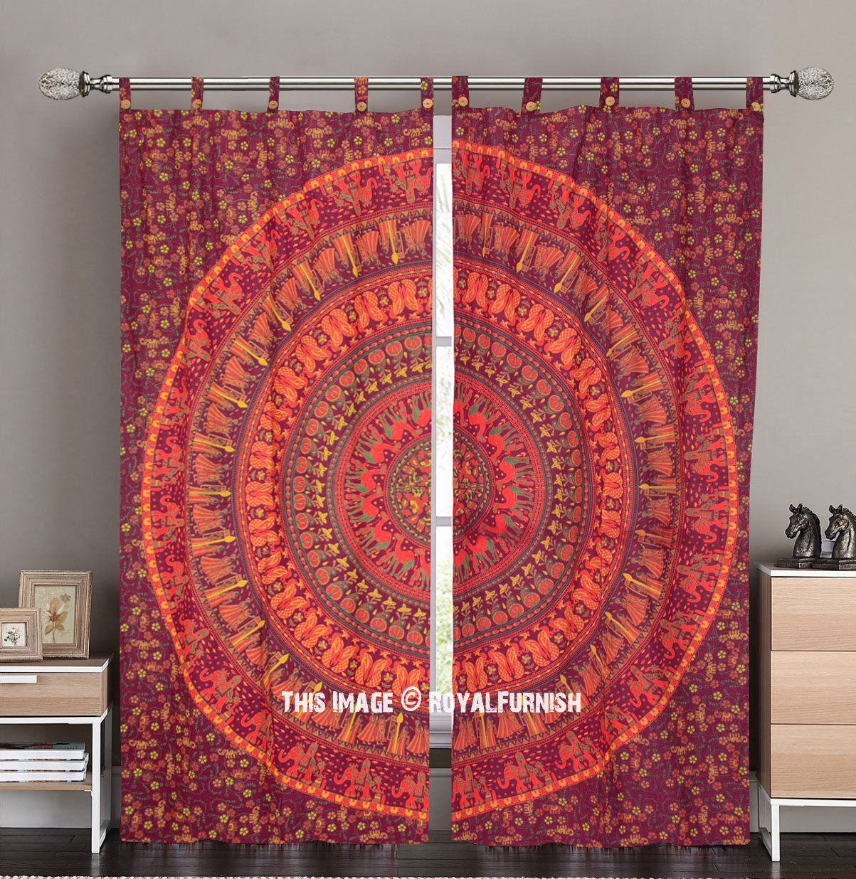 Maroon Amp Yellow Elephants Boho Mandala Circle Tapestry