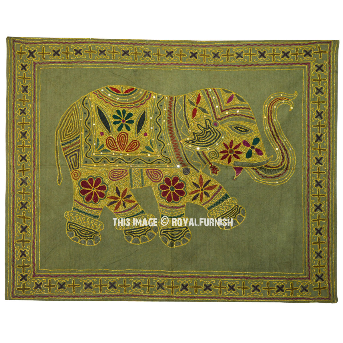 Green Ari Hand Embroidered Elephant Tapestry Wall Hanging 34X28 ...