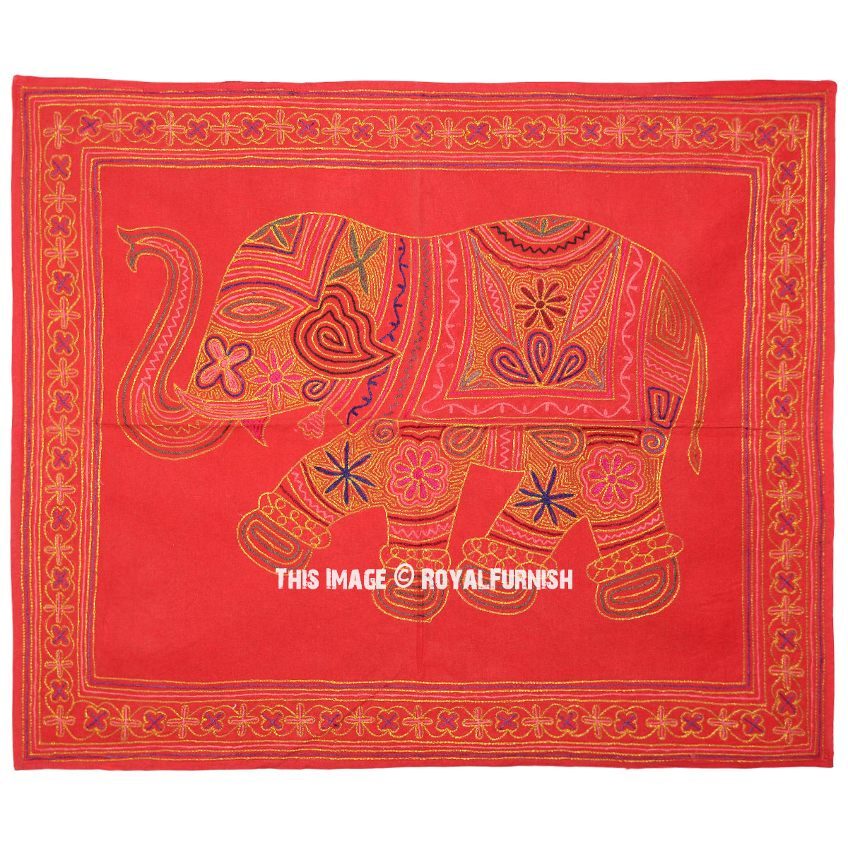Red Indian Ari Embroidered Elephant Fabric Wall Hanging