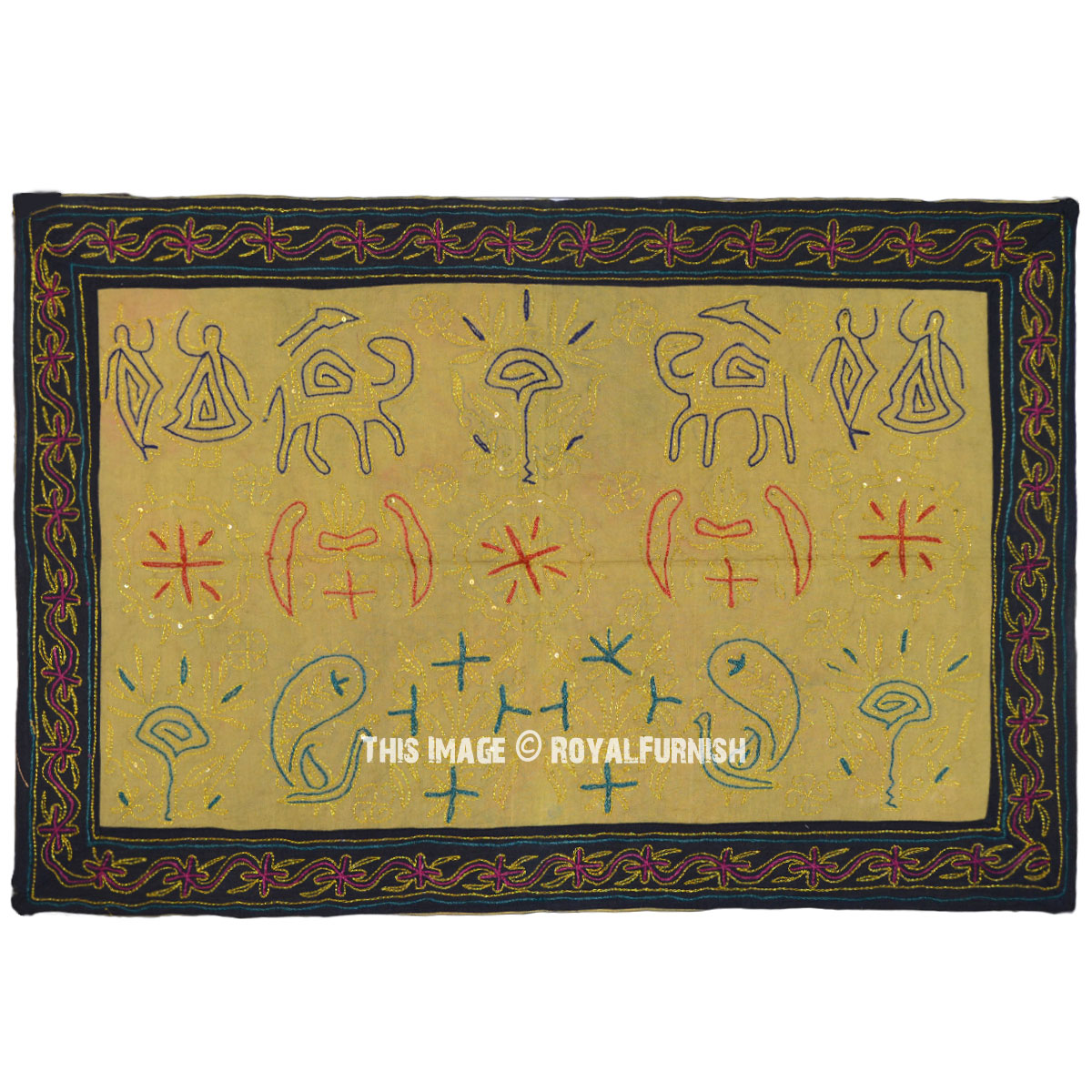 Green Antique Craft Work Embroidery Wall Hanging Tapestry Hand Made ...