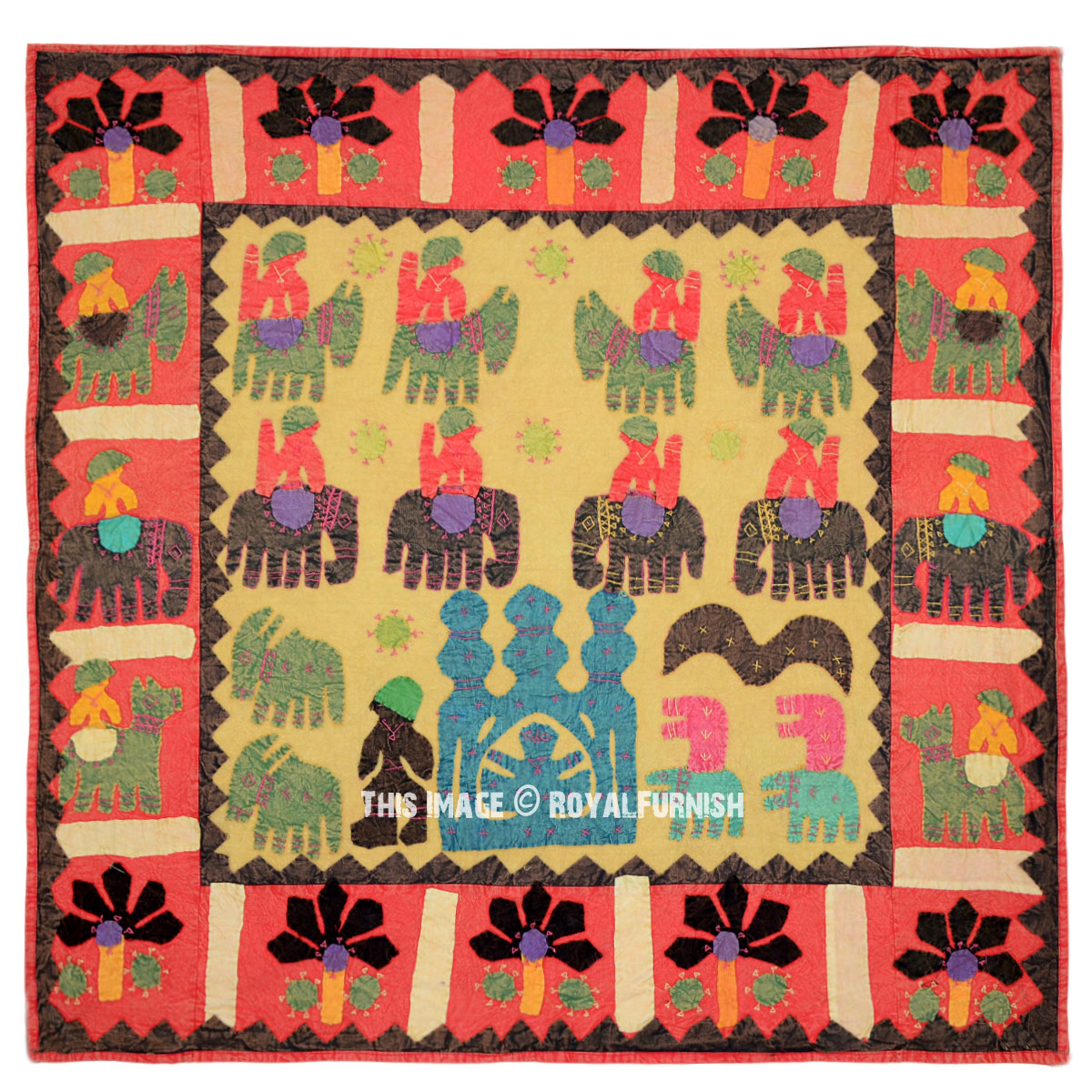 Red Indian Multi Patchwork Bohemian Tapestry Wall Hanging Ethnic ...