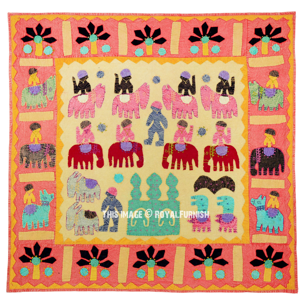 Orange Indian Multi Patchwork Bohemian Tapestry Wall Hanging Ethnic ...