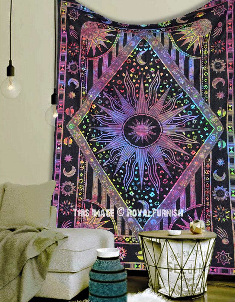 Hippie Celestial Sun Moon Tapestry Indian Tie /& Dye Wall Hanging Twin Bedspread