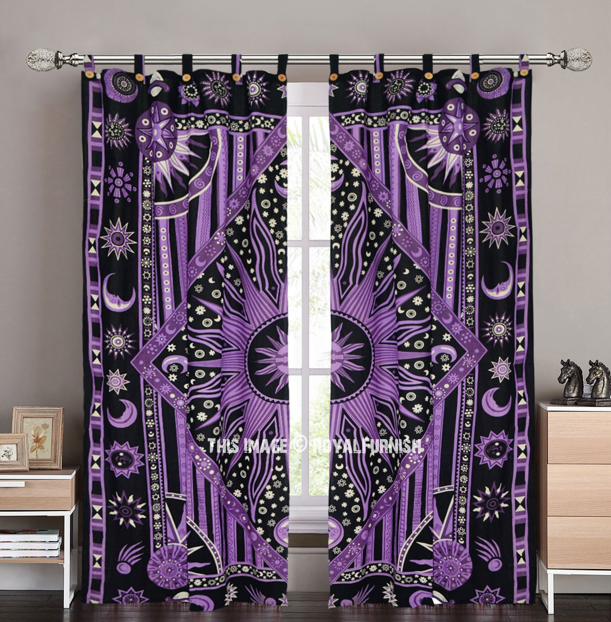 Purple Multi Celestial Sun Moon Planets Tapestry Curtains Set Of 2