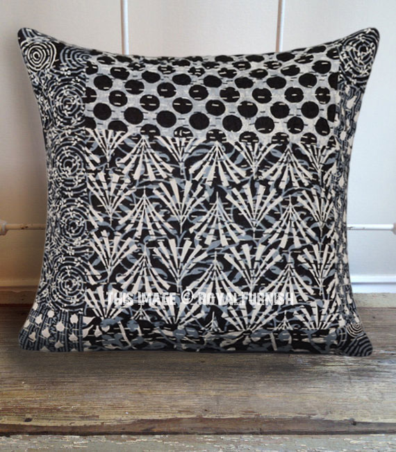 Black Polka Dots Kantha Throw Pillow Cover 16x16 Inch Royalfurnish Com