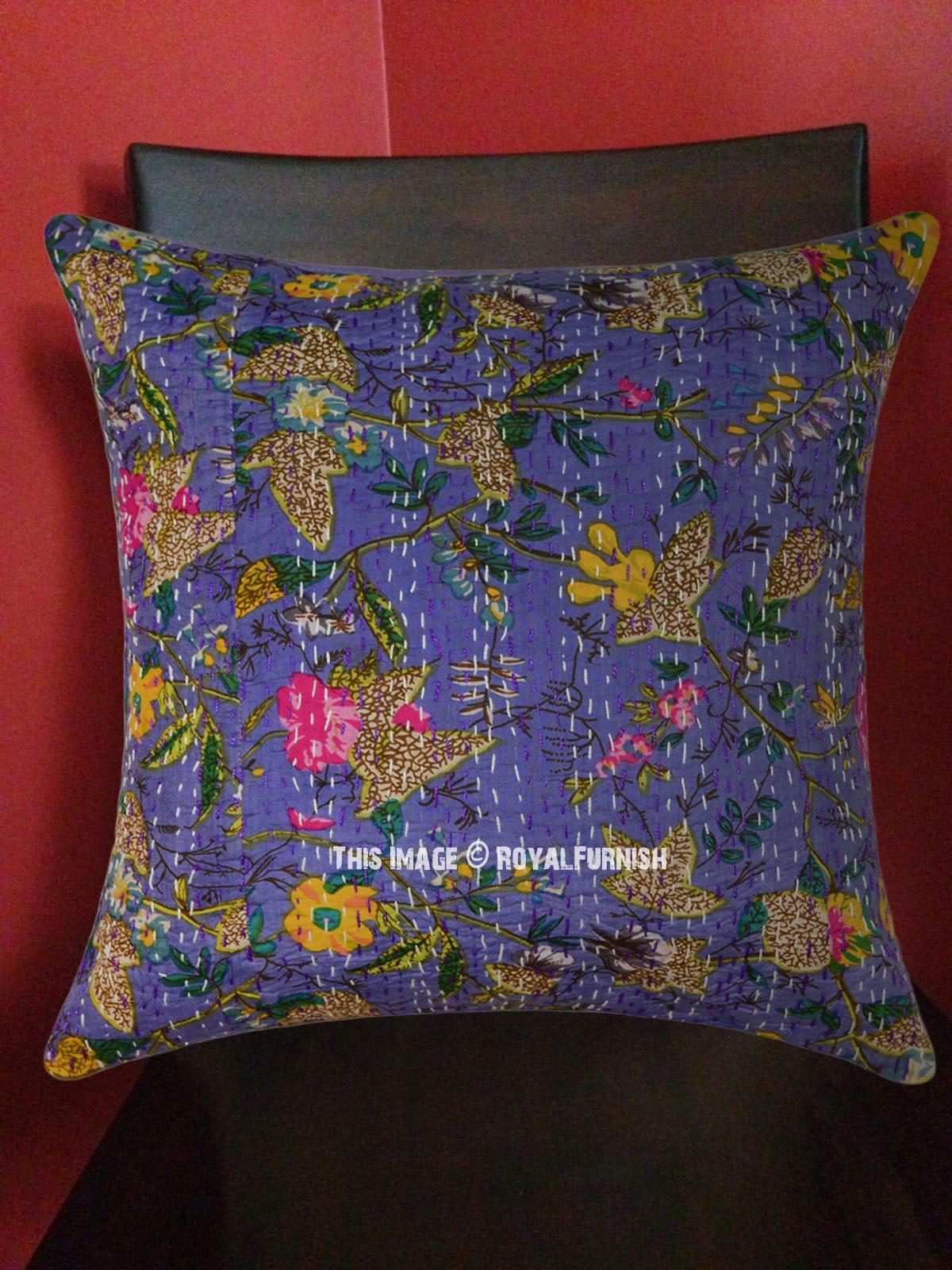 16 Quot Inch Blue Bird Paradise Kantha Throw Pillow Cushion
