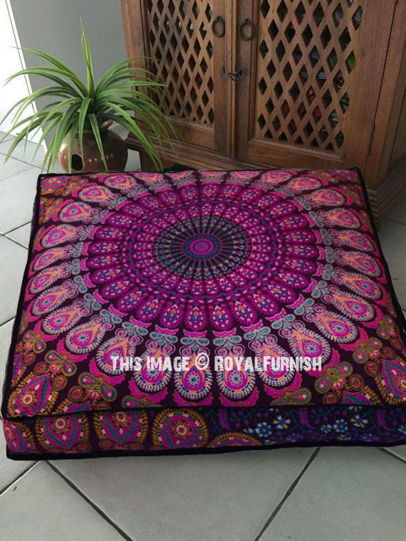 Pink Purple Mandala Square Floor Pillow Cover 40 Inch Interesting 36 Inch Square Pillow Cover