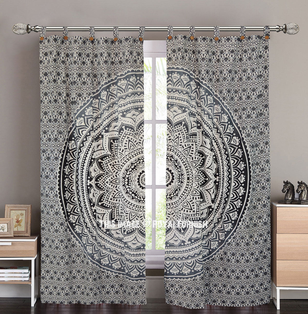 Grey Black Floral Ombre Medallion Tapestry Curtain Panel Pair Royalfurnish Com