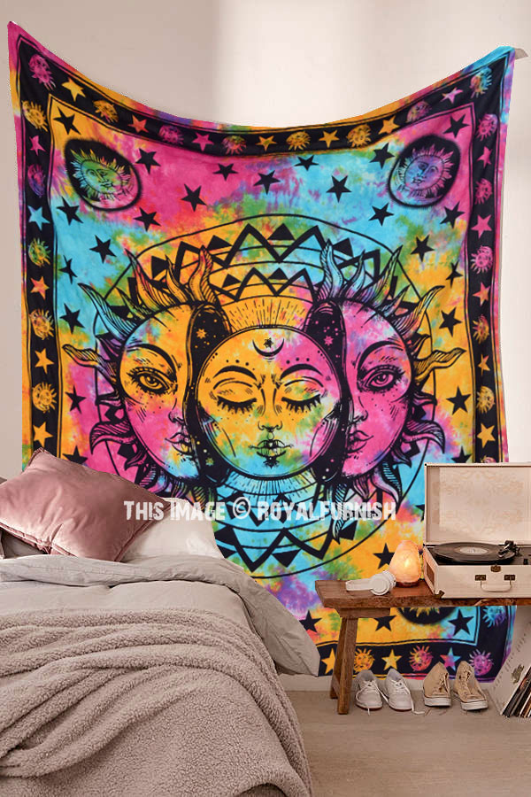 Black Sun Moon Tapestry Wall Hanging Psychedelic Throws Art Tapestries Decor