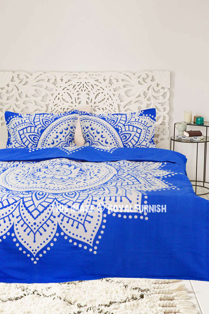 Textile Warehouse Mandala Indigo Blue White Duvet Quilt Cover Bedding Set 100/% Cotton