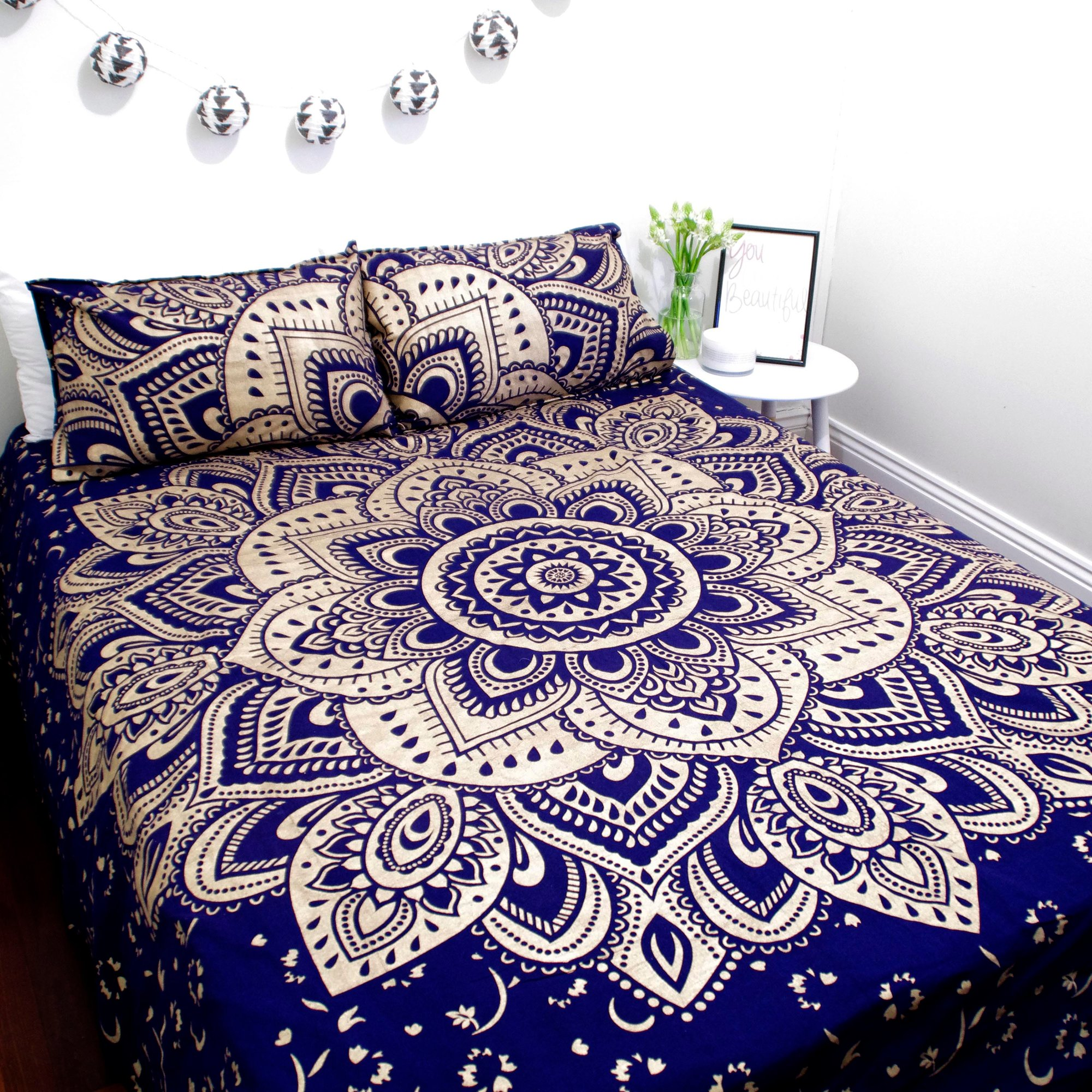 Blue & Gold Passion Ombre Boho Mandala Duvet Covers with Set of 2 Pillow  Covers