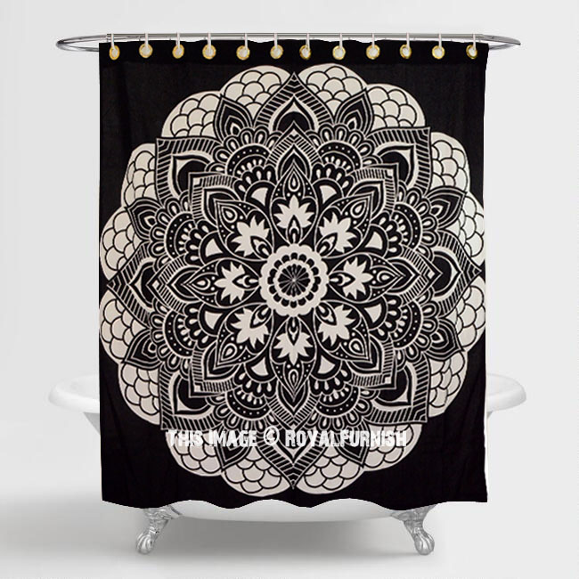 Black White Rangoli Mandala Bath Shower Curtain Royalfurnishcom