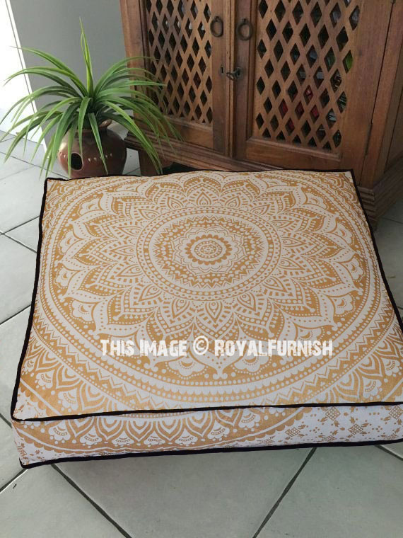 Sparkly Golden Classic Mandala Square Floor Pillow Cover, Dog Pet ...