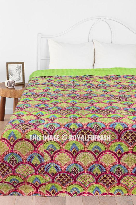 Indian Handmade Kantha Quilt Handblock printed Bedsheet Ikat Throw Gudri Beautiful Floral Printed Kantha