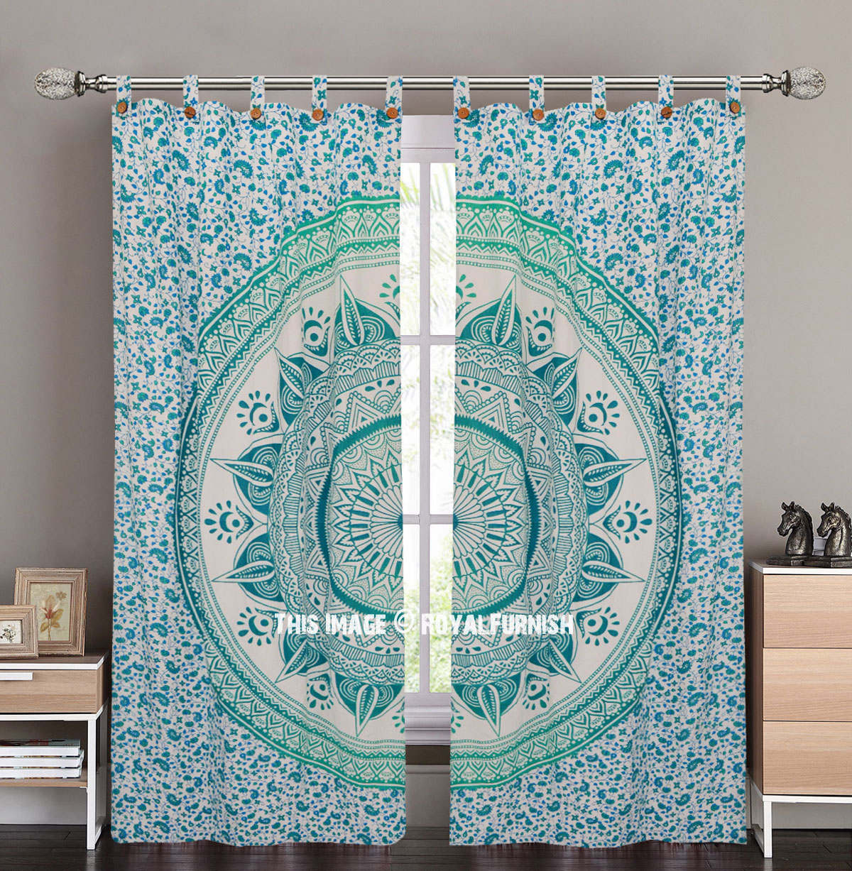 Sea Green Large Leafs Circle Ombre Tapestry Curtain Panel Pair Royalfurnish Com