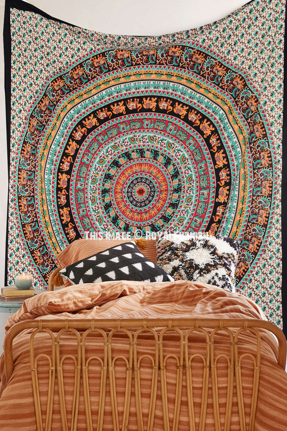 Black Amp Yellow Elephant Bohemian Mandala Tapestry Wall