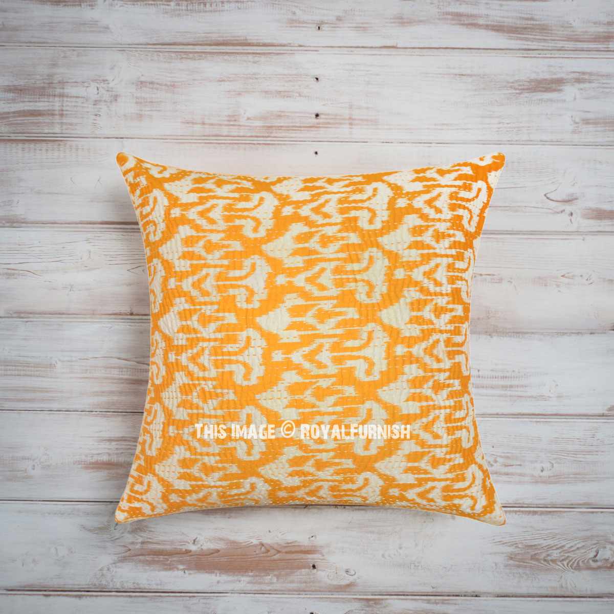 24 Yellow Indian Decorative Zigzag Ikat Kantha Throw Pillow Cover