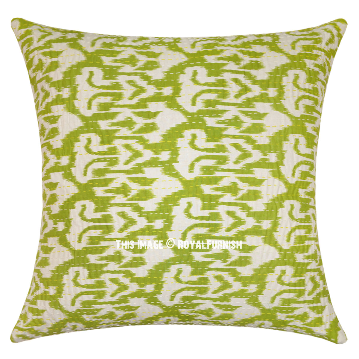 Green Accent Kantha Ikat Oversized Throw Pillow Cover