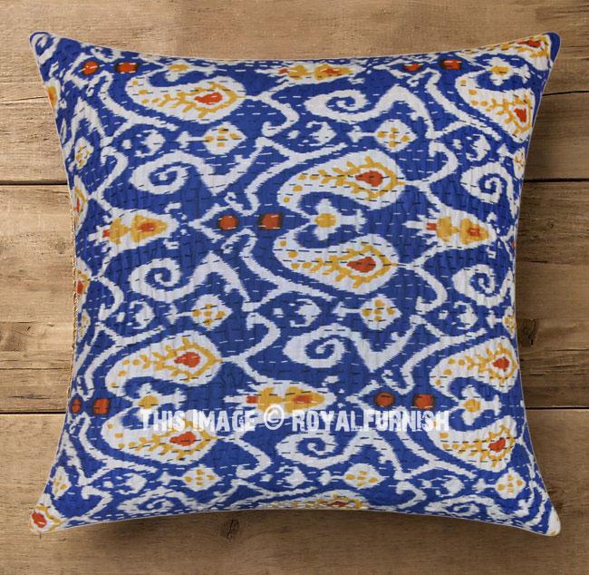 Blue Multi Ikat Kantha Handmade Designer Outdoor Throw Pillow