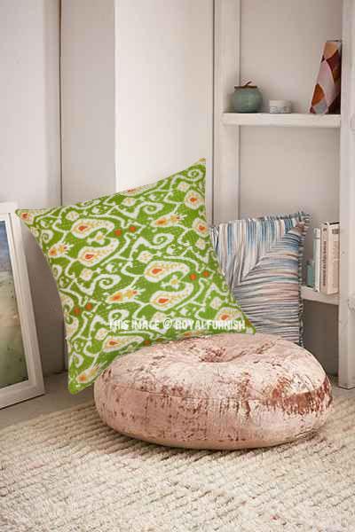 Large Green Multi Ikat Kantha Paisley Outdoor Throw Pillow