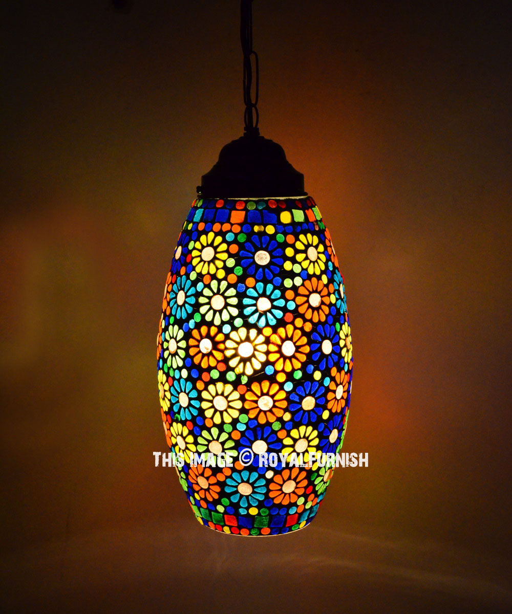 Flower carved mosaic glass turkish pendant lighting lamp