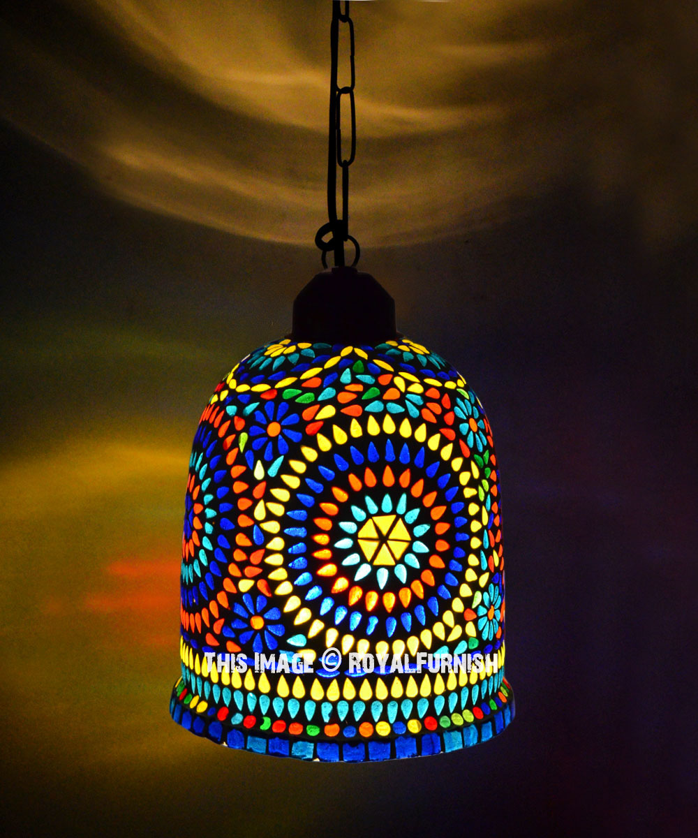 Mosaic Glass Fascinating One Pendant Light Fixture Lamp