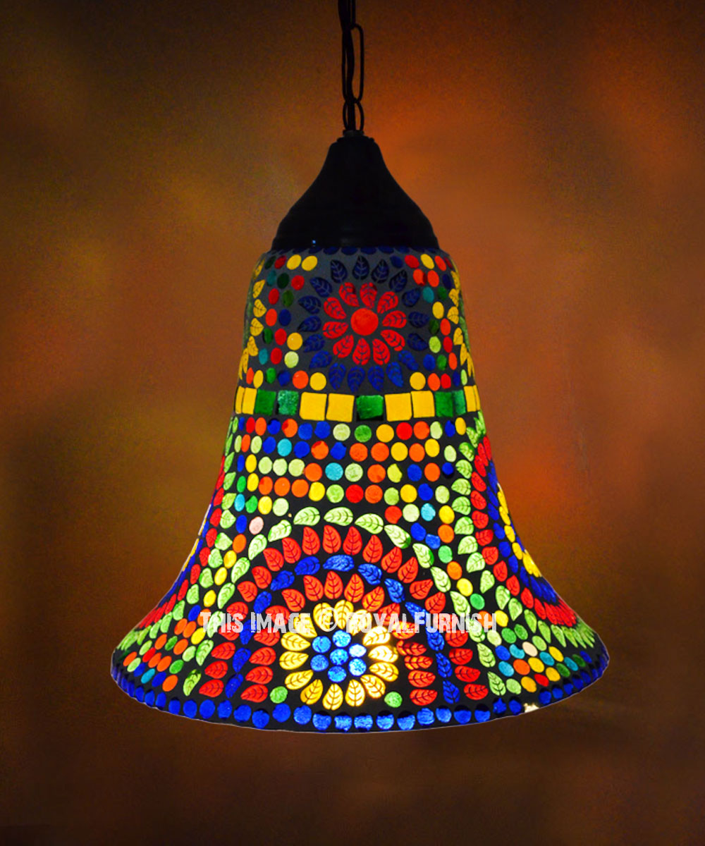 Mosaic Glass Traditional Bell Shaped Pendant Light Fixture