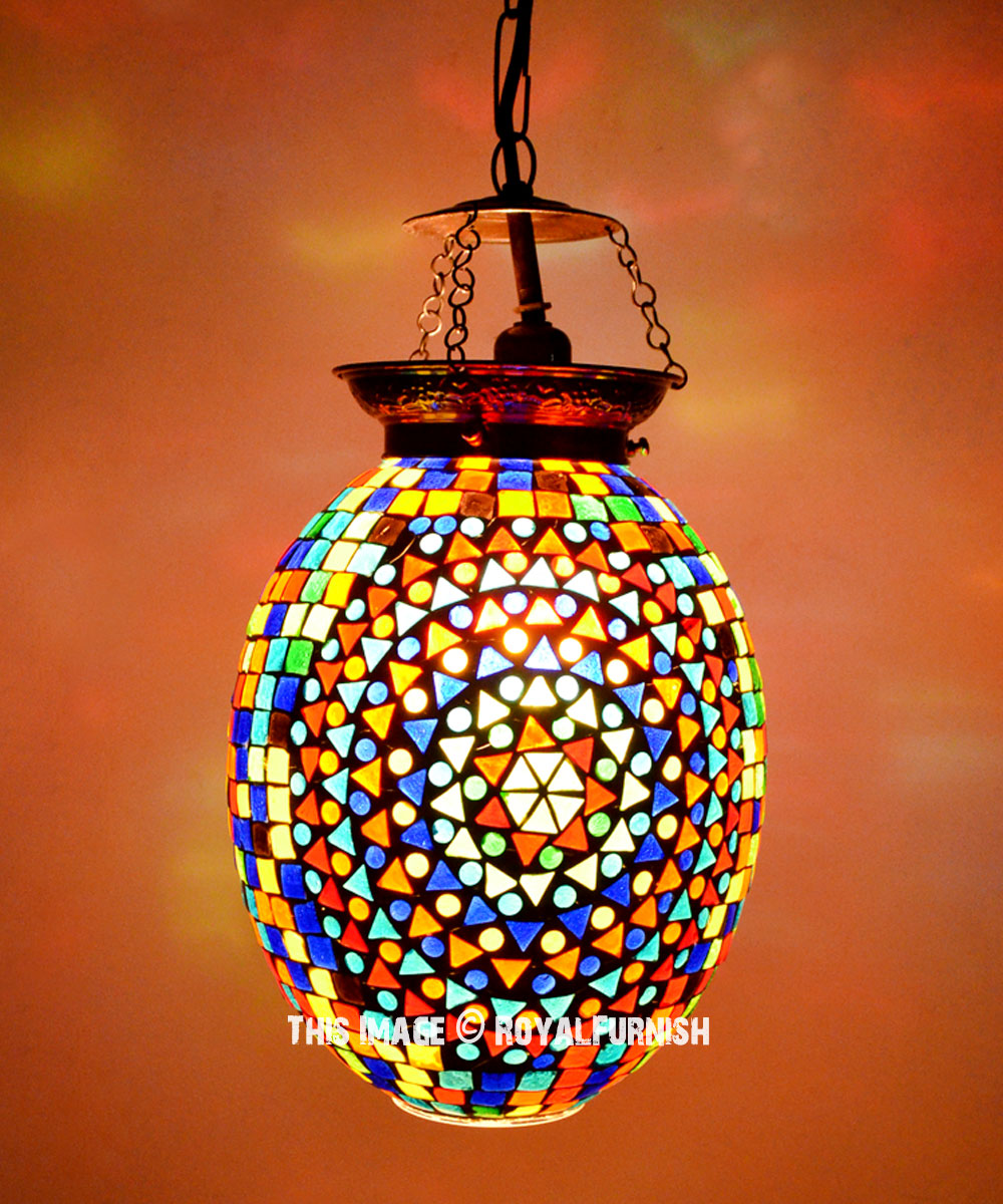 Multi Color Mosaic Glass Hanging Turkish Chandelier Light
