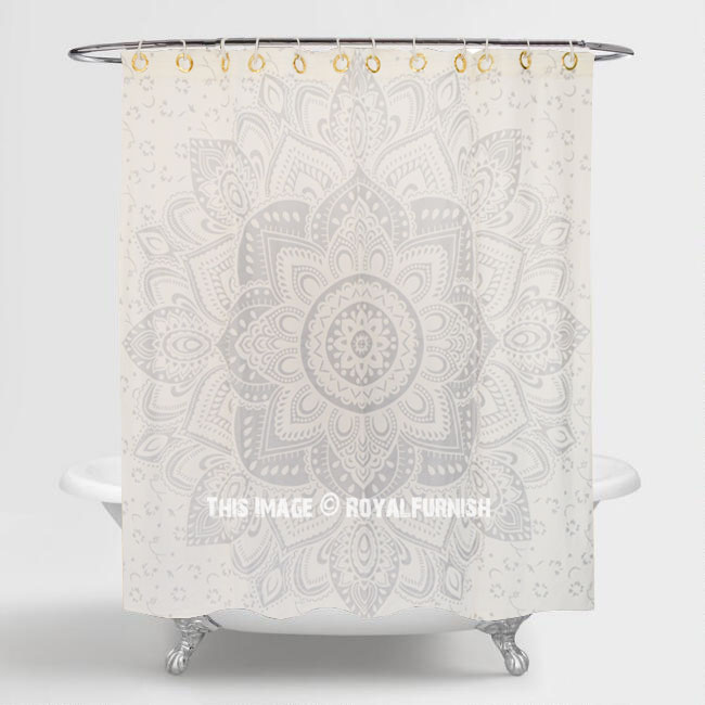 White Silver Passion Mandala Shower Curtain