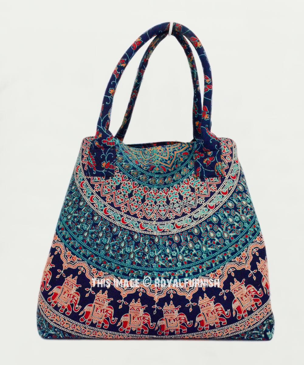 Blue Boho Birds Medallion Beach Tote Bag For Women Royalfurnish