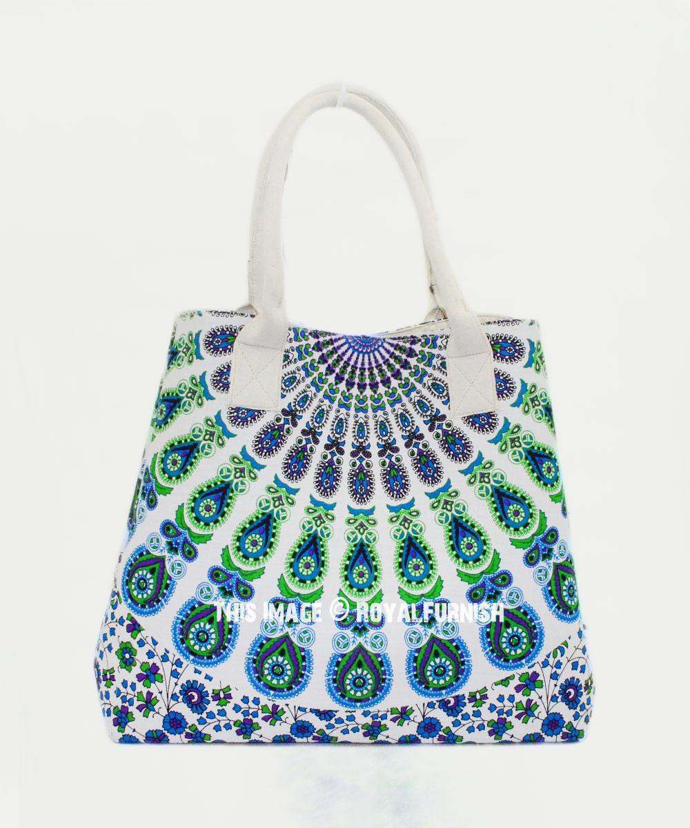 Blue   White Peacock Wings Printed Bohemian Beach Tote Bag for Women ... c410e58911