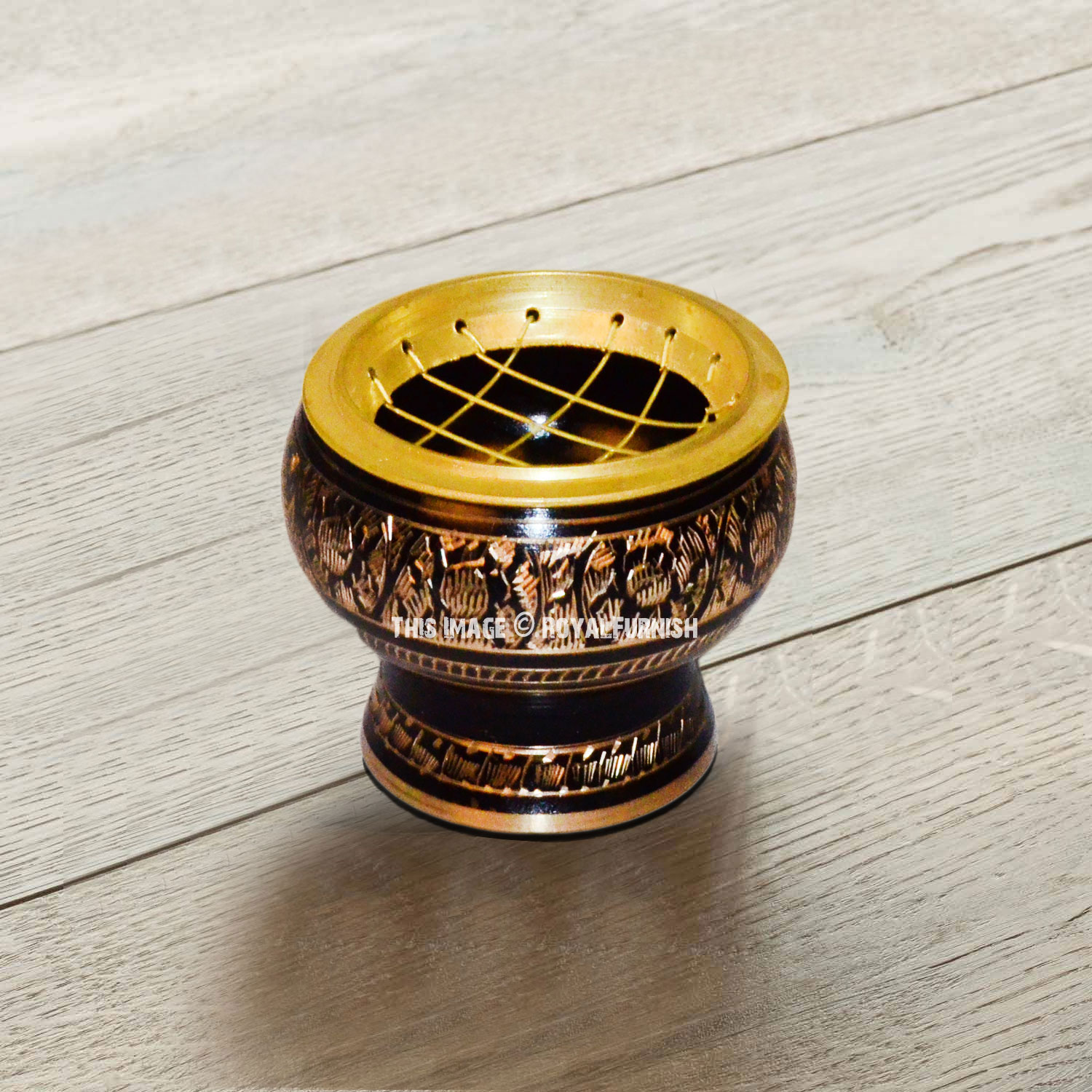 Small Decorated Brass Charcoal Screen Incense Burner With Wooden Coaster Royalfurnish Com