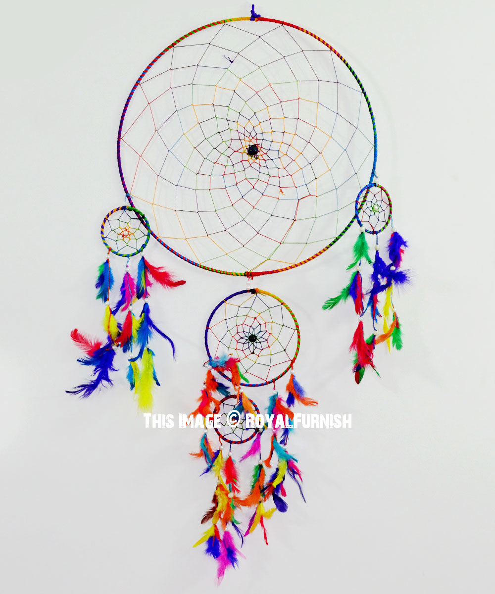 - Multi Boho Colors Handmade Large Dream Catcher 16 Inch