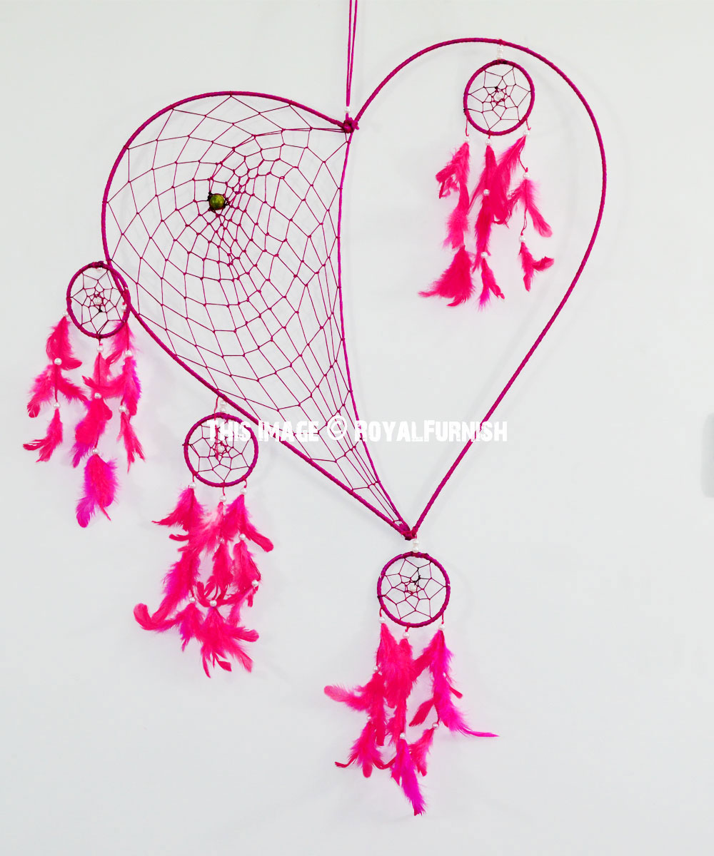 Large Pink Love Heart Shaped Dream Catcher Wall Hanging