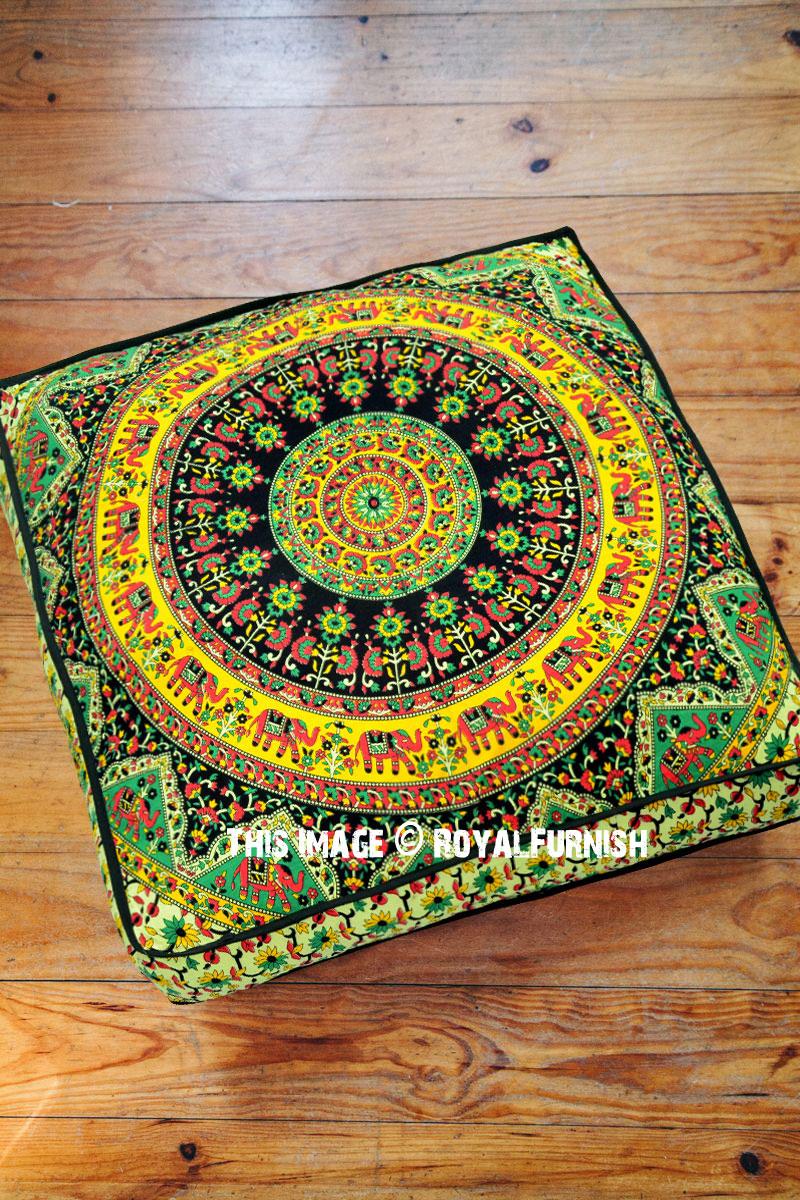 Picture of: Beige Multi Bohemian Kerala Mandala Square Floor Pillow Cover 36×36 Inch Royalfurnish Com