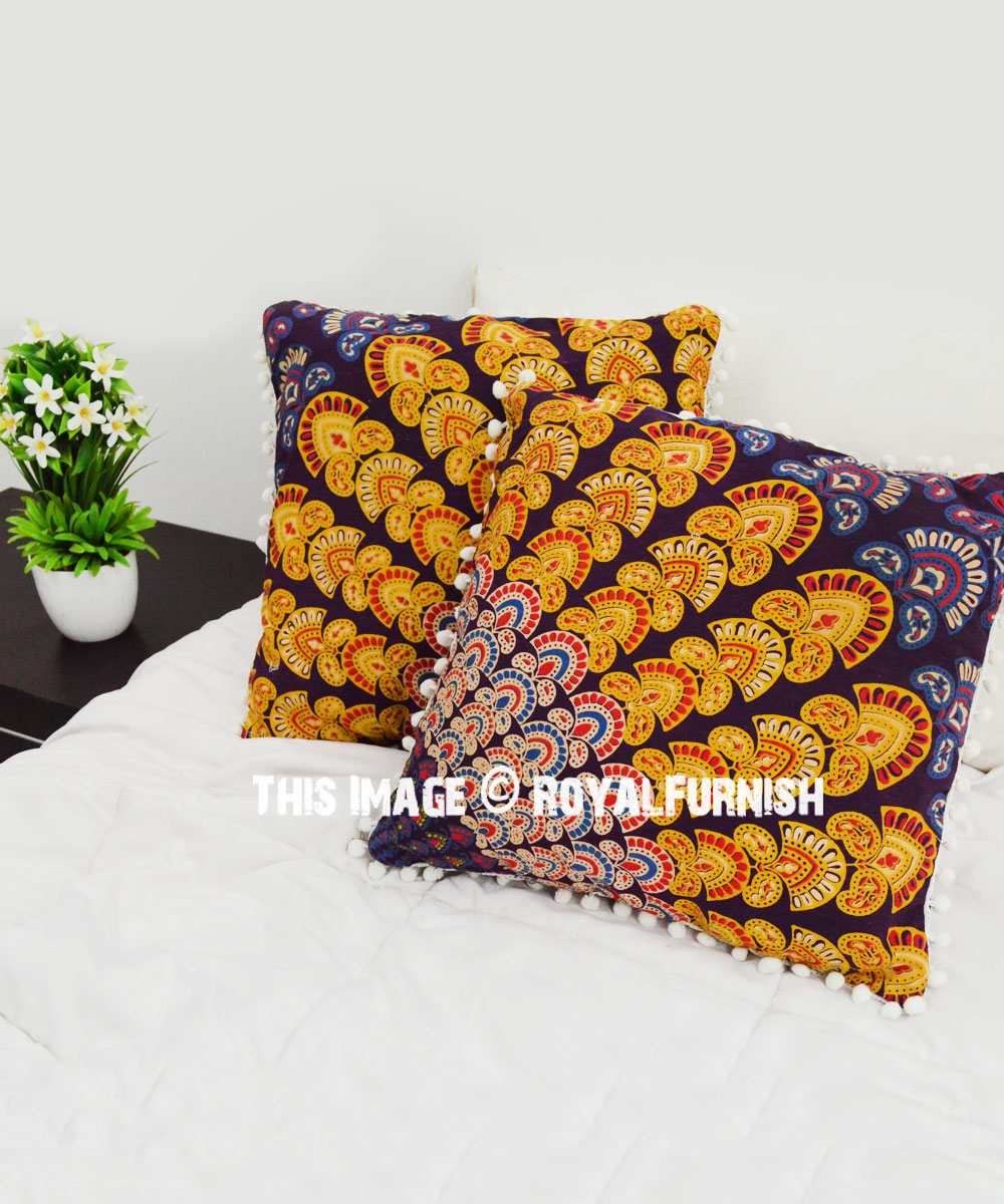 Maroon Yellow Decor Peacock Wings Mandala Throw Pillow Cover Set Of 2 Royalfurnish Com