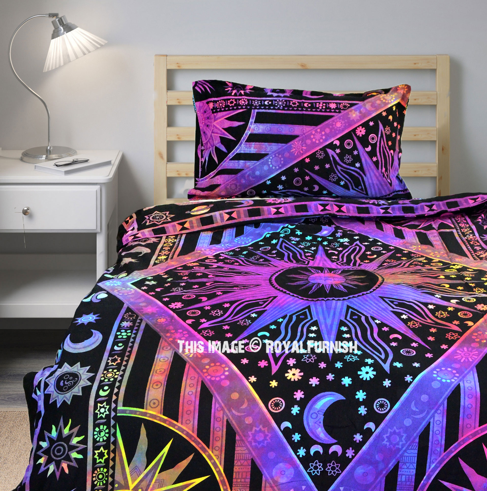 Tie Dye Celestial Sun Moon Duvet Cover Set With One Pillow Sham Royalfurnish Com