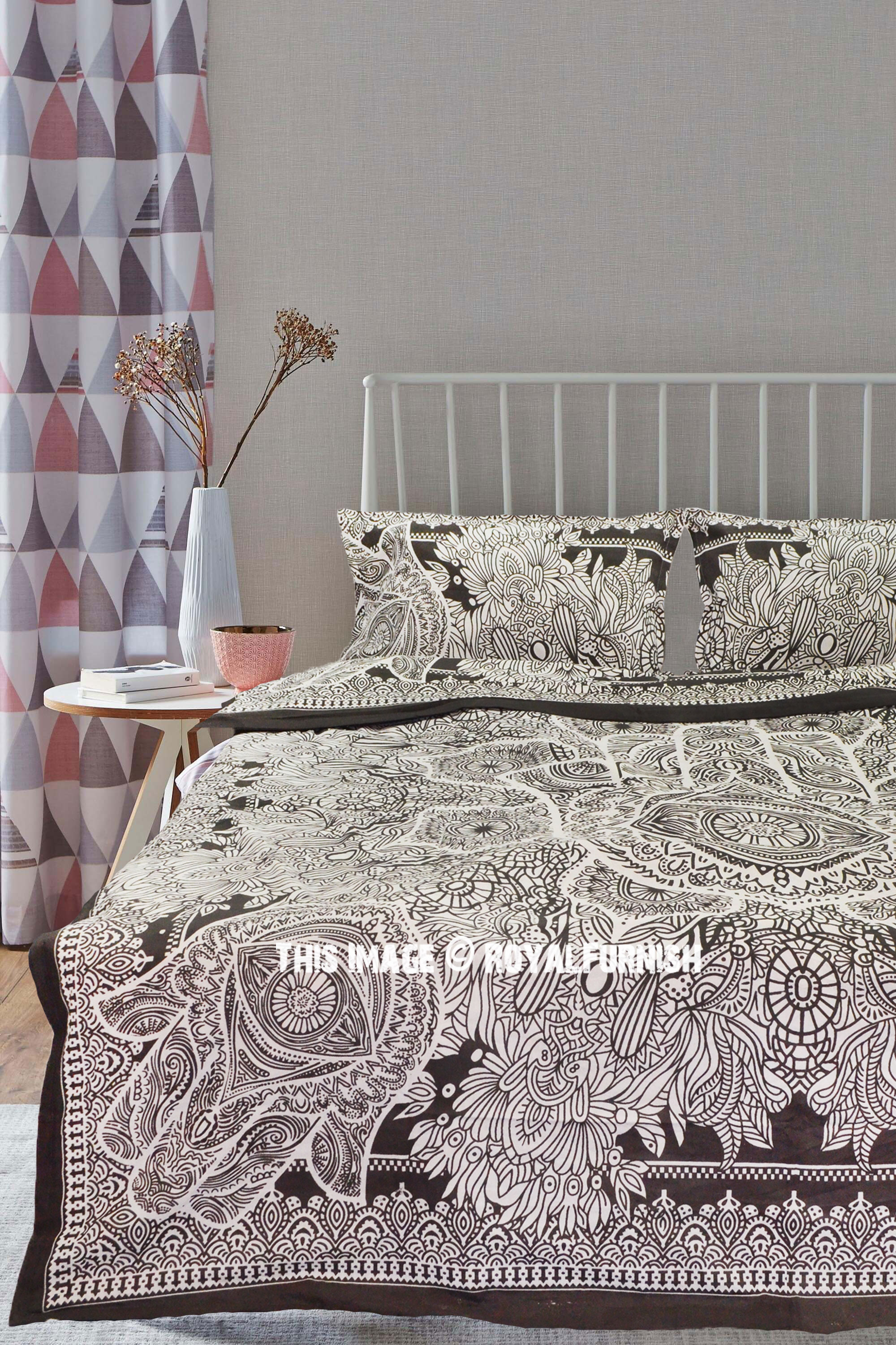 Grey Sketched Hand Hamsa Duvet Cover Set With 2 Pillow Covers Royalfurnish Com
