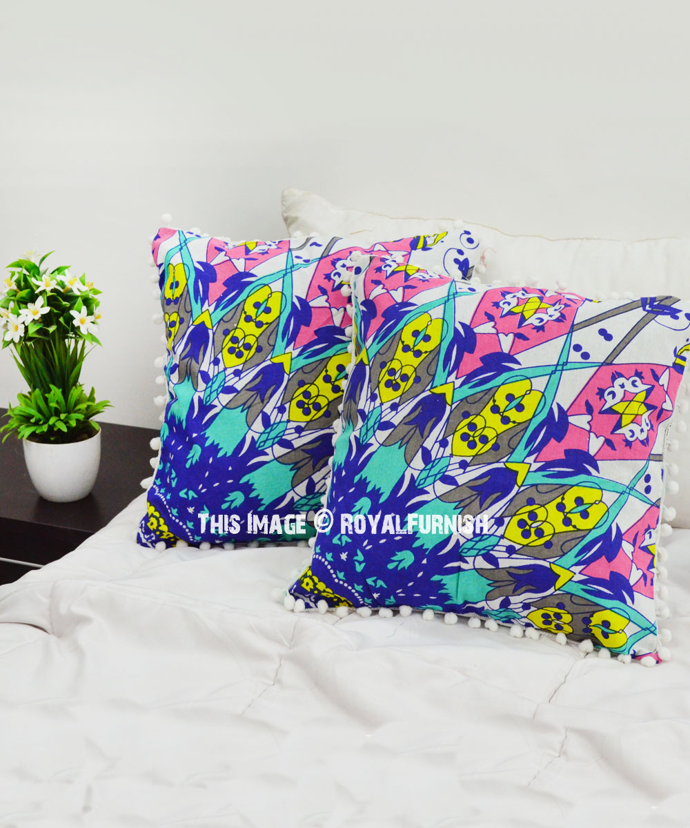 Picture of: Blue Multi Psychedelic Boho Pattern Pom Pom Throw Pillow Cover Set Of 2 Royalfurnish Com