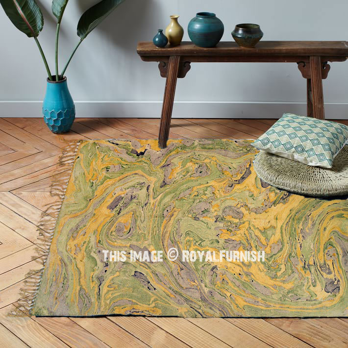 Yellow Sea Wave Printed Outdoor Indoor Cotton Area Rug 3x5 Ft Royalfurnish Com