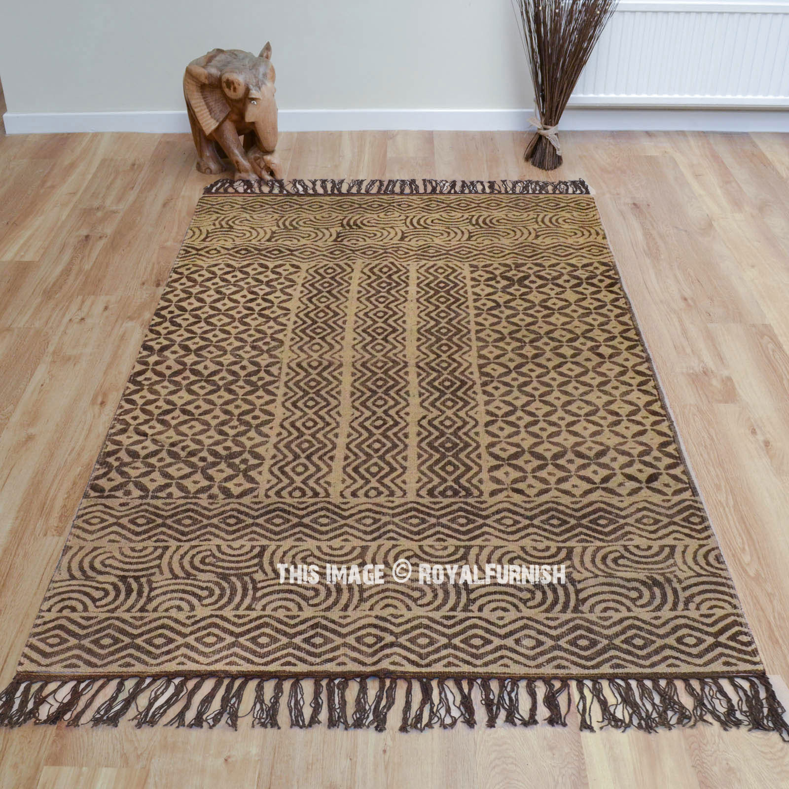 Brown Mix Flower Printed Cotton Area Rug Carpet 3x5 Ft